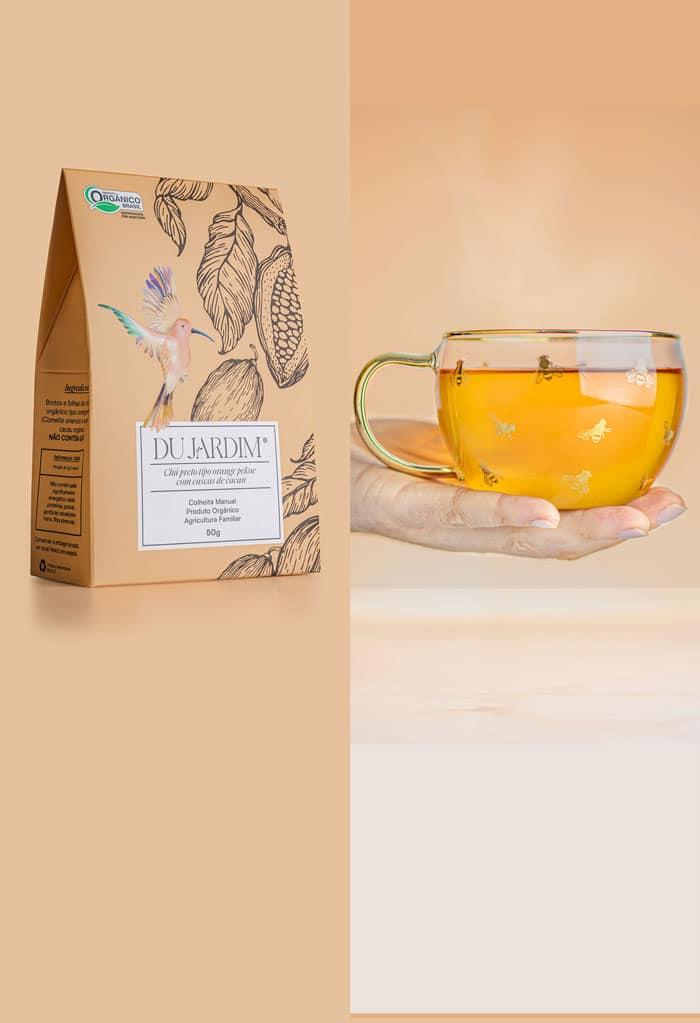Chá Preto tipo orange pekoe com cascas de cacau