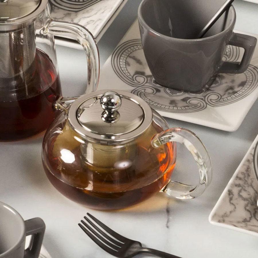 Bule para chá em vidro e aço inox com infusor 500mL